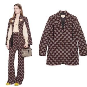 Gucci GG Diamond Wool Jacquard Cape Jacket Coat